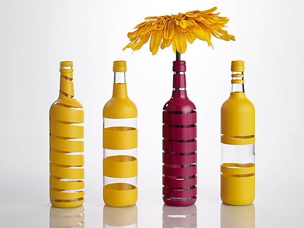 Painted-Stripe Wine Bottle Vases