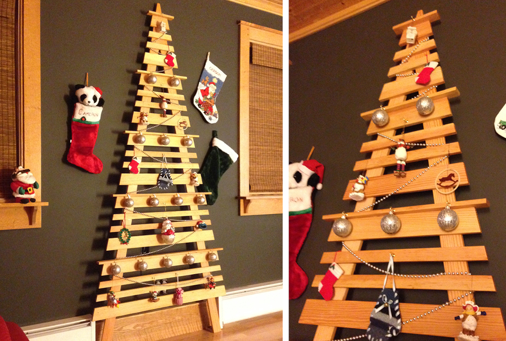 diy wall mounted christmas tree my home my style. Black Bedroom Furniture Sets. Home Design Ideas